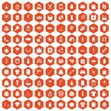 100 woman icons hexagon orange. 100 woman icons set in orange hexagon isolated vector illustration Royalty Free Illustration