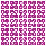 100 woman icons hexagon violet Stock Images