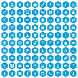 100 woman icons set blue. 100 woman icons set in blue hexagon isolated vector illustration Royalty Free Stock Photos