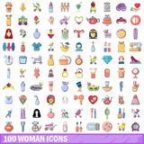 100 woman icons set, cartoon style. 100 woman icons set. Cartoon illustration of 100 woman vector icons isolated on white background Stock Photo