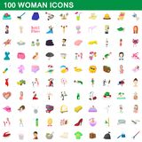 100 woman icons set, cartoon style. 100 woman icons set in cartoon style for any design illustration vector illustration