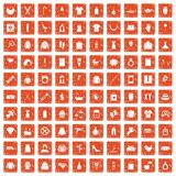 100 woman icons set grunge orange. 100 woman icons set in grunge style orange color isolated on white background vector illustration royalty free illustration
