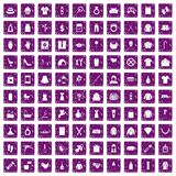 100 woman icons set grunge purple. 100 woman icons set in grunge style purple color isolated on white background vector illustration royalty free illustration