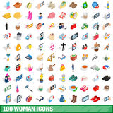 100 woman icons set, isometric 3d style Royalty Free Stock Photo