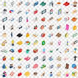 100 woman icons set, isometric 3d style Stock Photography