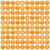 100 woman icons set orange. 100 woman icons set in orange circle isolated on white vector illustration Royalty Free Stock Photos