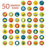 50 woman icons set. Round flat icons with long shadows Vector Illustration