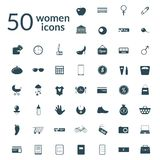 50 woman icons set. Round flat icons with long shadows Stock Illustration