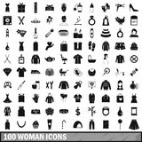 100 woman icons set, simple style. 100 woman icons set in simple style for any design vector illustration Royalty Free Stock Photo