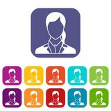 Woman icons set Royalty Free Stock Photography