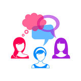 Woman icons with speech bubbles Stock Images