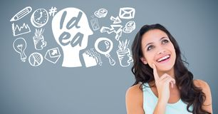 Woman with idea and Business graphics drawings Stock Images