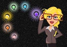 Woman idea concept with bulb Stock Photo