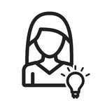 Woman Idea. Discover, brainstorming, teamwork icon vector image. Can also be used for women. Suitable for use on web apps, mobile apps and print media Stock Image