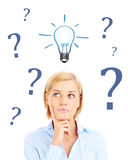 Woman idea and question Royalty Free Stock Photo
