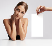 Woman with ideal skin and space for text. In studio Royalty Free Stock Images