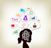 Woman ideas infographic social clouds concept Stock Image