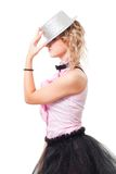 Woman illusionist with magician hat Royalty Free Stock Photos