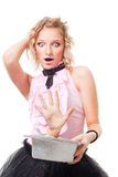 Woman illusionist perform scary trick Stock Photography
