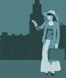 Woman illustration. Contemporary illustration of a woman standing and holding case Royalty Free Stock Image