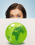 Woman with illustration of green eco globe Royalty Free Stock Images