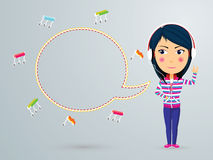 Woman illustration of listening Royalty Free Stock Photography