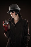 Woman in the image of the detective Stock Photo