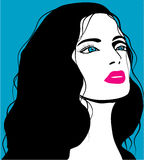 Woman image in retro style, fashion background Royalty Free Stock Photography