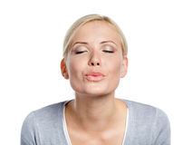Woman imagines that she kisses somebody. Whom she loves, isolated on white stock photos