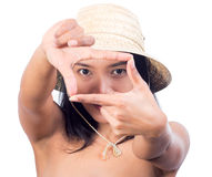 Woman imitating frame for photo Stock Photos