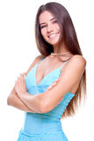 Woman In A Blue Dress Stock Images