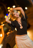 Woman In A City At Night Stock Image