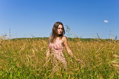 Woman In A Field Of Rye Stock Images