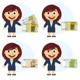 Woman In A Suit And Money In Hand Stock Photos