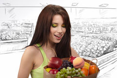 Woman In A Supermarket Royalty Free Stock Photos