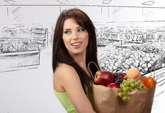 Woman In A Supermarket Stock Image