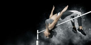 Free Woman In Action Of High Jump. Sports Banner Stock Images - 189184894