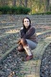 Woman In Amphitheater Stock Photo