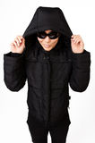 Woman In Black Coat With Hood Royalty Free Stock Photos