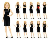 Free Woman In Black Dress Character Set Royalty Free Stock Photography - 140916247