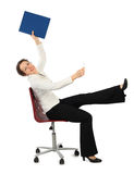 Woman In Business Dress Sitting On Chair Royalty Free Stock Photos