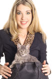 Woman In Business Suit Kitten In Bag Royalty Free Stock Photo