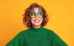 Free Woman In Christmas Glasses Smiling And Looking Away Royalty Free Stock Photography - 203325317