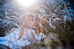 Woman In Feather Grass Royalty Free Stock Photo