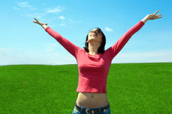 Woman In Field Hold Hand Palm Up Royalty Free Stock Photos