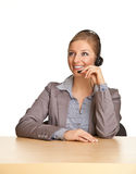 Woman In Formal Suit And Headset Royalty Free Stock Images