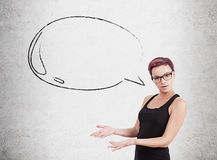 Woman In Glasses And Speech Bubble Stock Photos