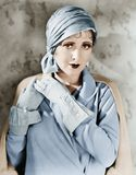 Woman In Gloves And Hat Stock Images