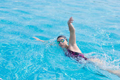 Free Woman In Goggles Swimming Front Crawl Style Royalty Free Stock Photos - 54514678