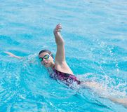 Free Woman In Goggles Swimming Front Crawl Style Stock Photos - 55724543